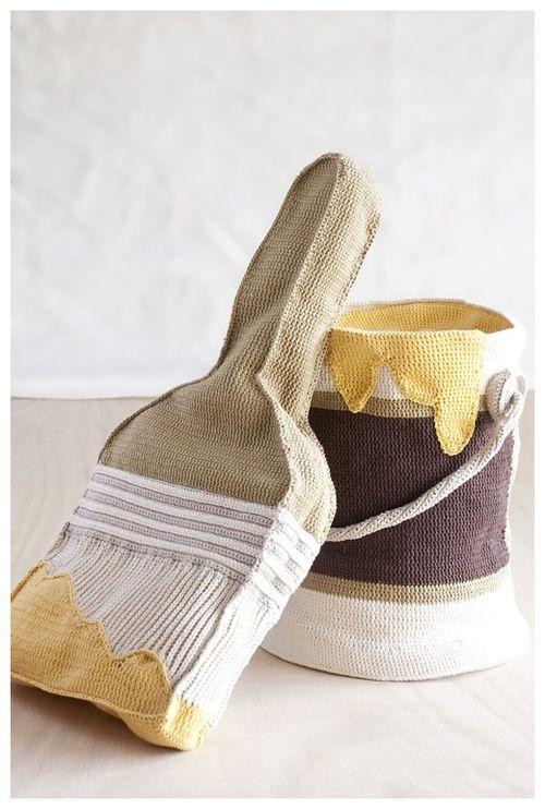 DAVIDSTARK_WOODSHOP_Hand-CrochetedPaint Can&PaintBrushPillow